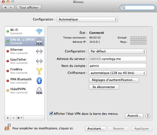 OSX01 Ajouter un VPN Synology à son MAC avec le client de base